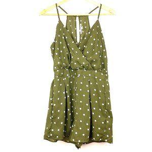 HAUTE MONDE Green Sleeveless Romper